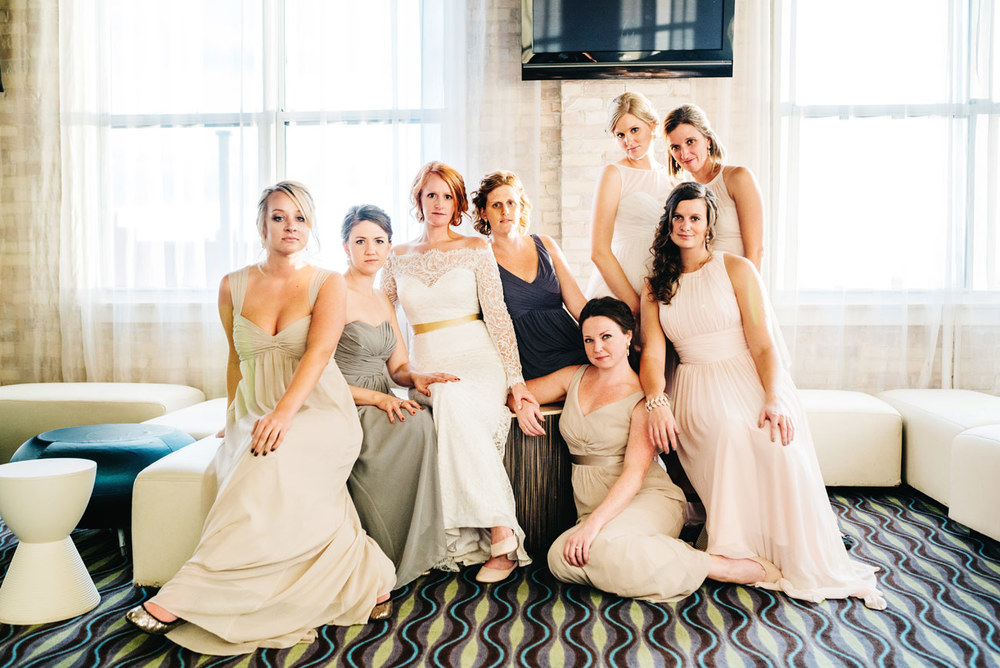 awesome and creative bridesmaid portrait at eve at the b.o.b. in michigan club