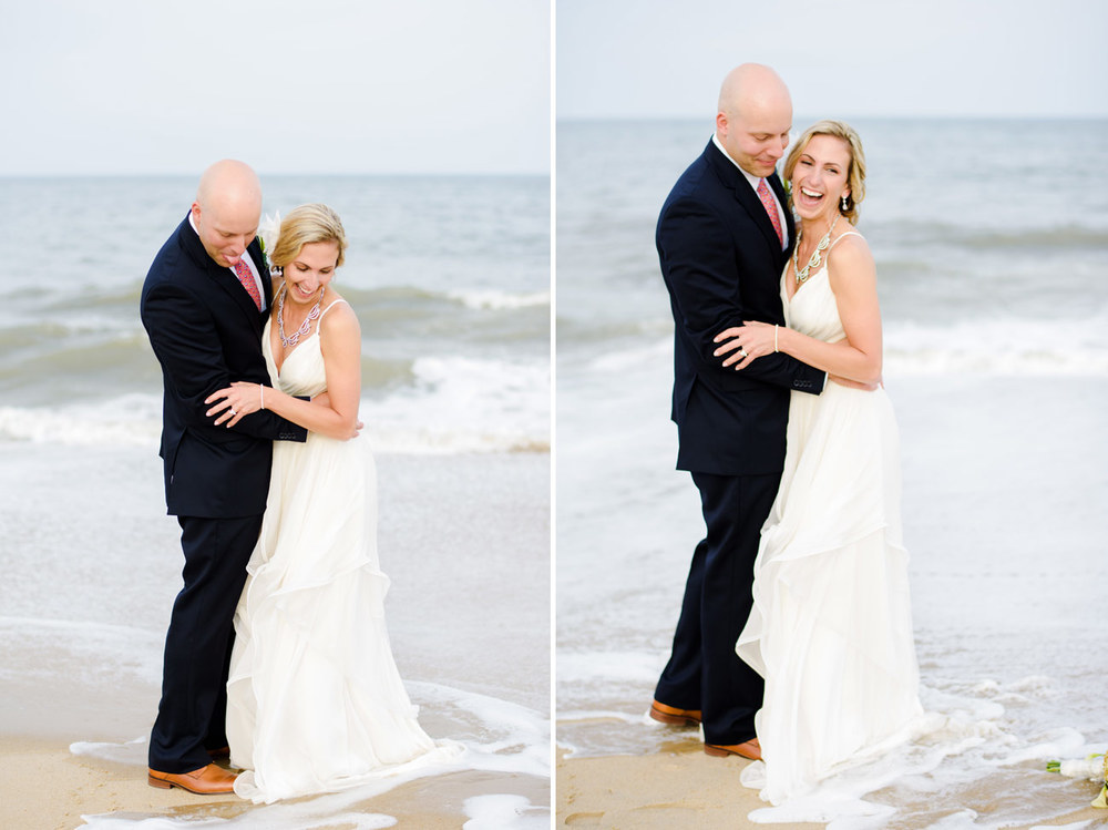 wave crashing in to bride and groom on bethany beach water on the feet