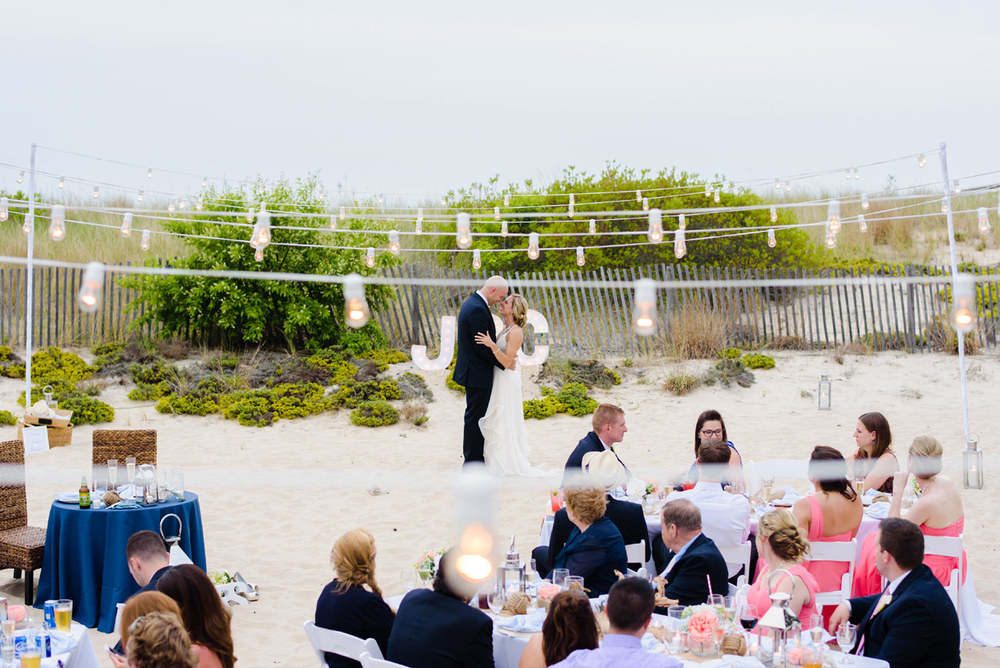 beautiful intimate first dance on the beach in bethany beach de, new england photographers