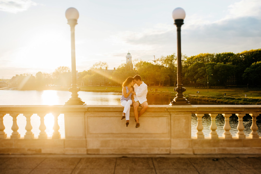 beautiful boston charles river engagement photos during sunset