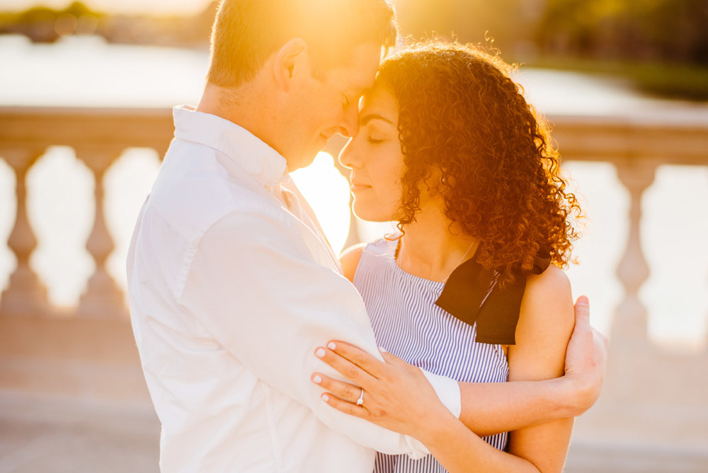 beautiful back lit sunset golden hour engagement photography