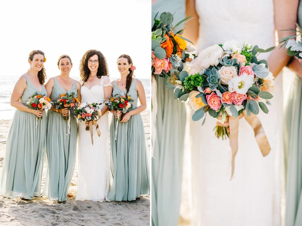 beautiful bridesmaids with blue green dresses on the beach