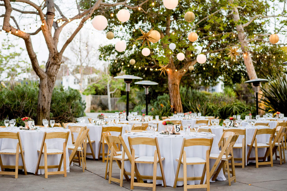 southern california backyard wedding lighting and table inspiration