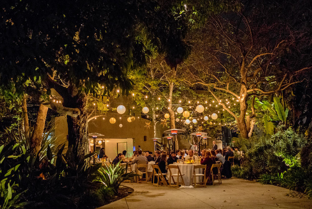 patio lights at southern california wedding