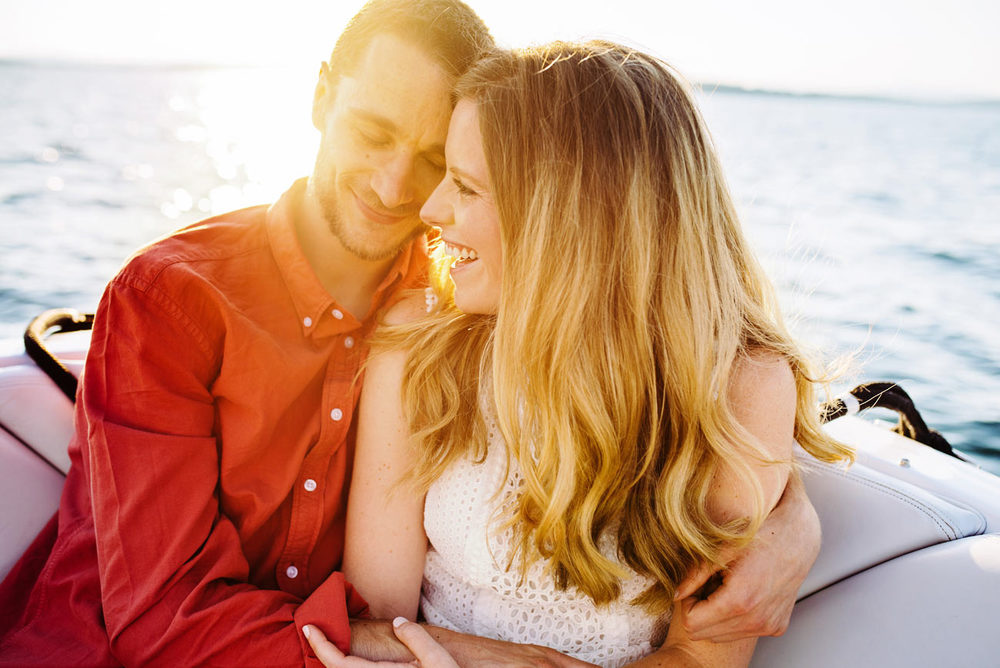 Lake winnipesaukee private boat engagement photos