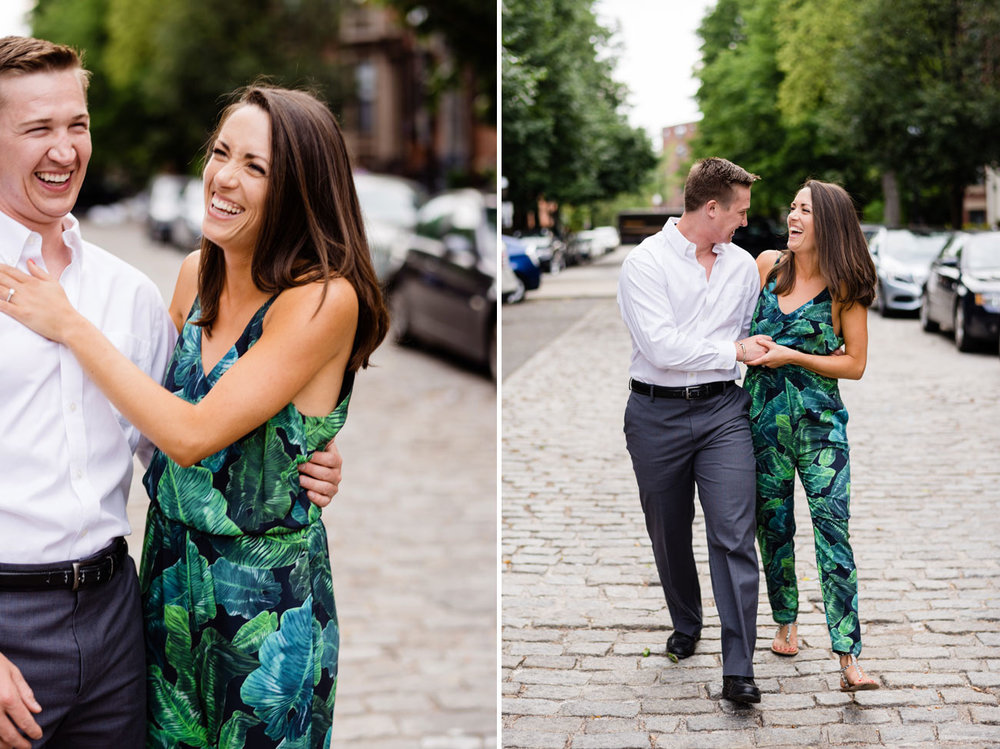 engagement session in boston , beautiful couple walking on cobble stones