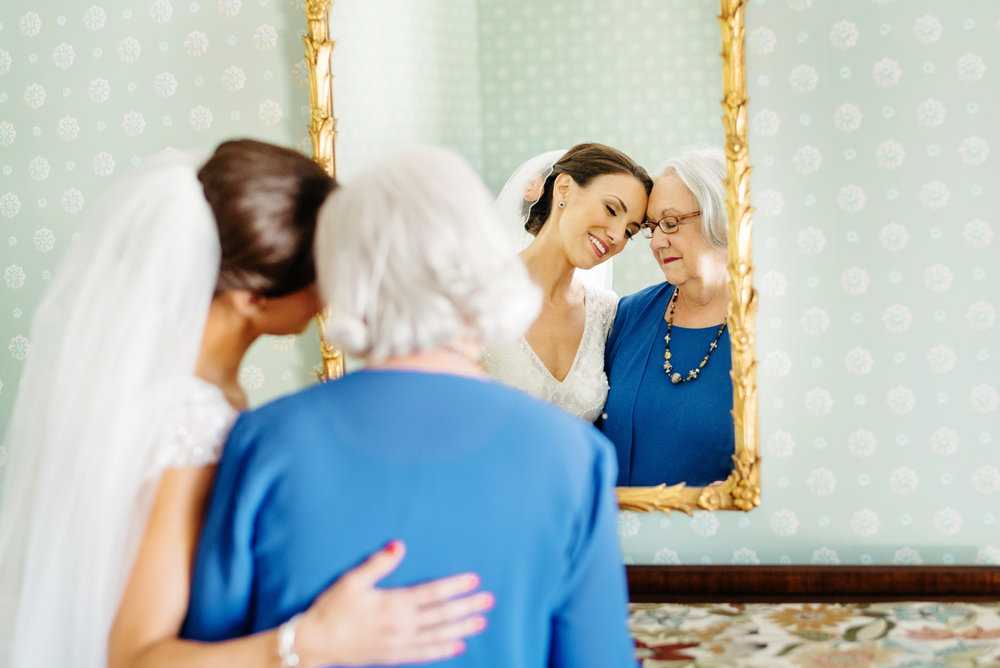 stunning portrait of bride and her mom before the wedding lovely moment cape cod weddings