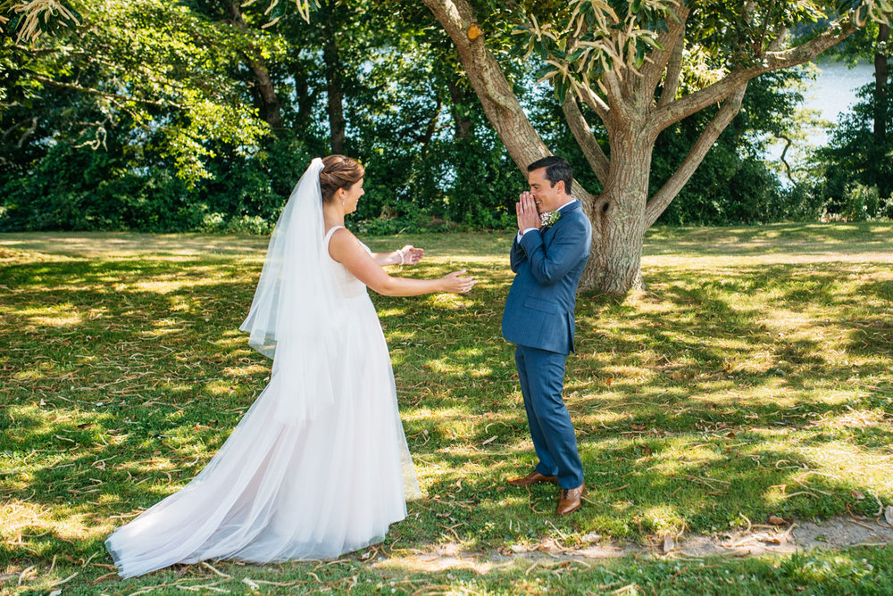 beautiful first look with couple at bourne farm in falmouth, rustic barn wedding inspiration