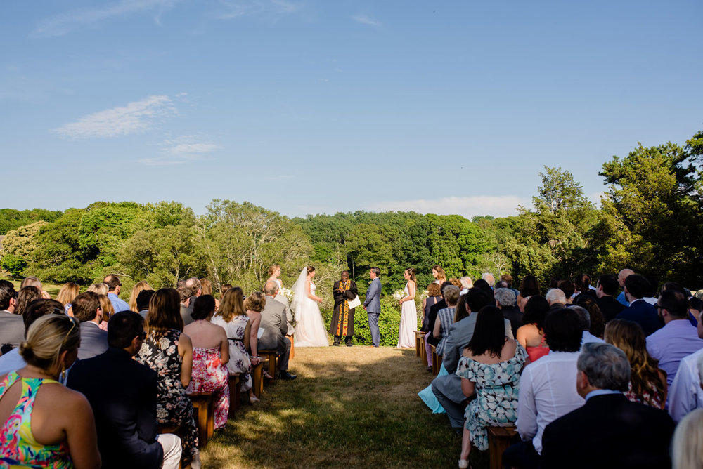 outdoor ceremony at bourne farm , new england outdoor wedding venues