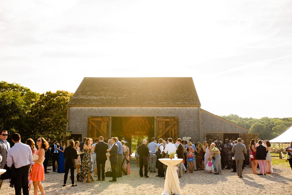 beautiful outdoor barn cocktail hour at bourne farm in falmouth, MA