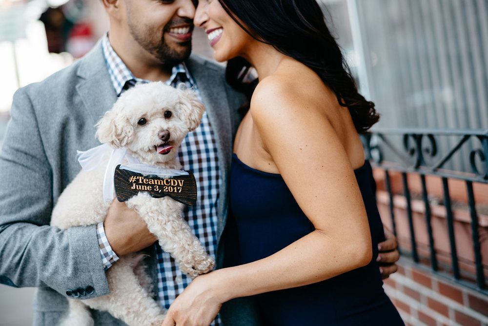 cute couple with dog at there north end boston engagement
