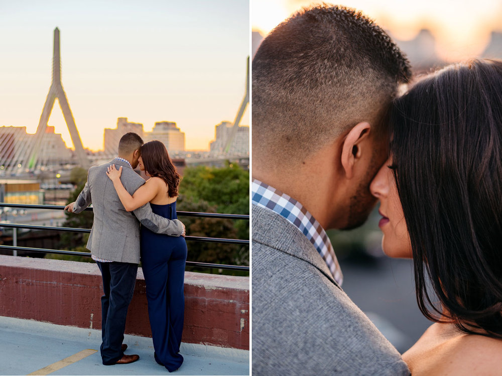 beautiful sunset boston engagement with views of zakim bridge