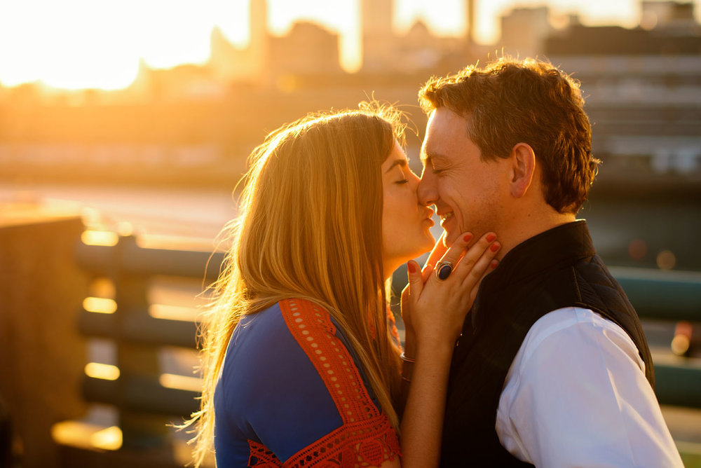 beautiful boston sunset engagement photography