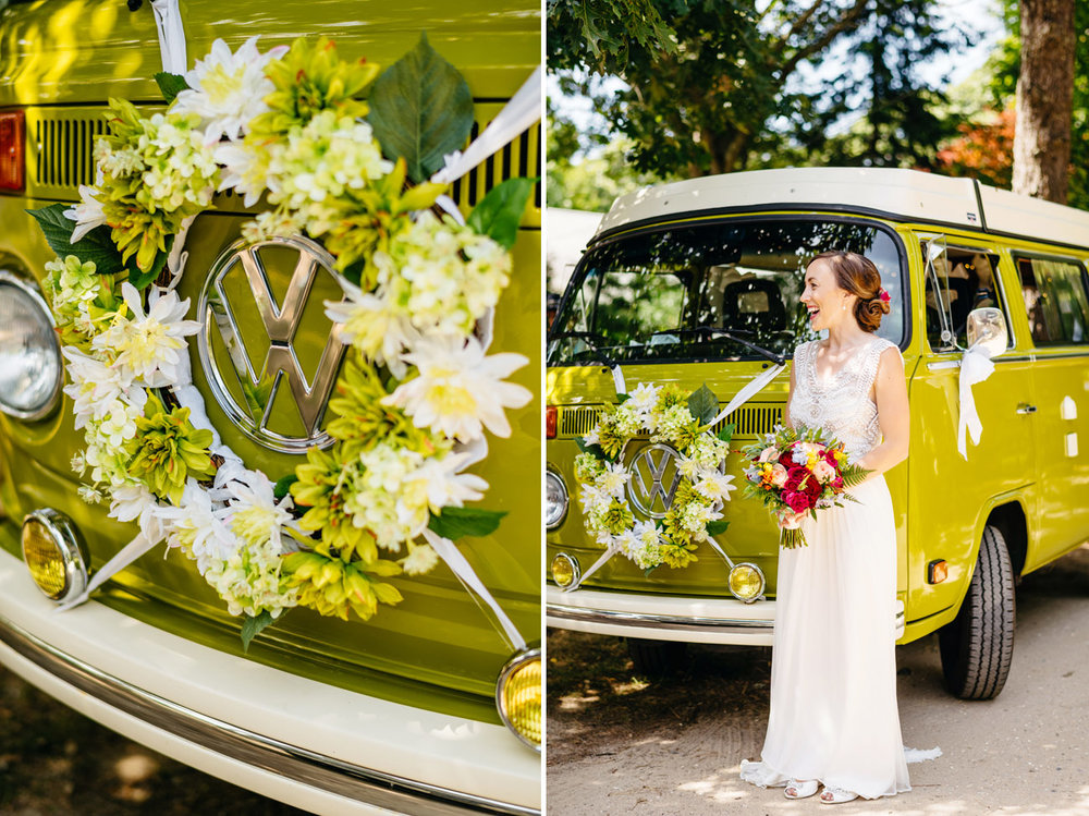 gorgeous bride with her VW bus at her backyard cape cod wedding