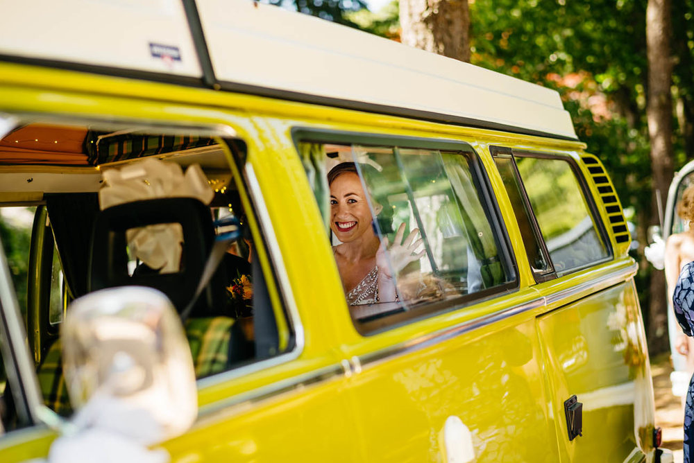 bride in vw bus at her cape cod wedding