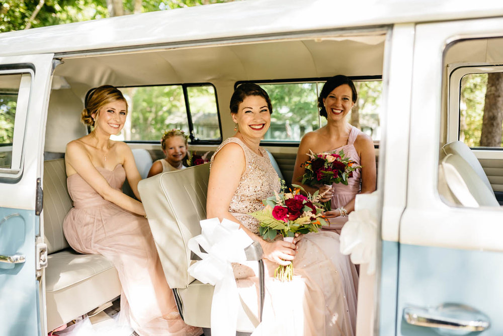 brides maids riding in vw bus