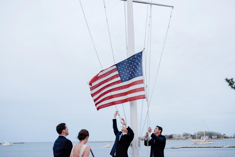taking down a flag at weddings after the cannon