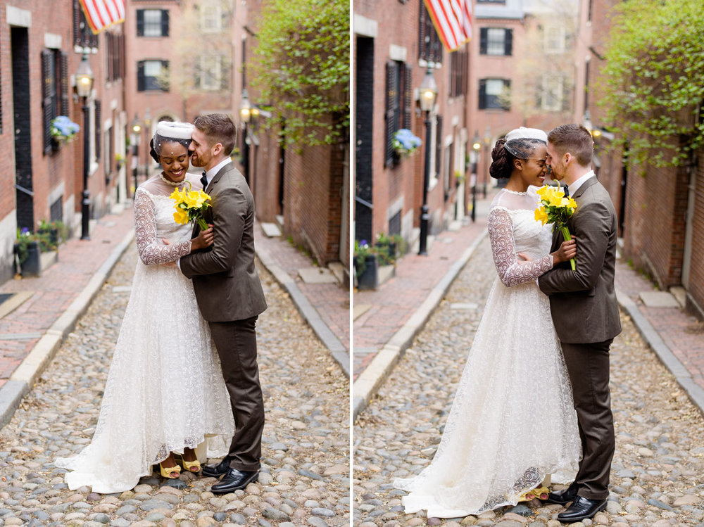 classy and timeless beacon hill boston wedding portraits on acorn street