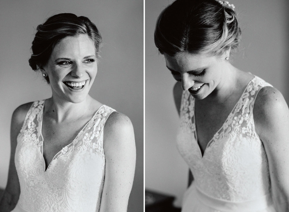stunning black and white bridal portrait in new england