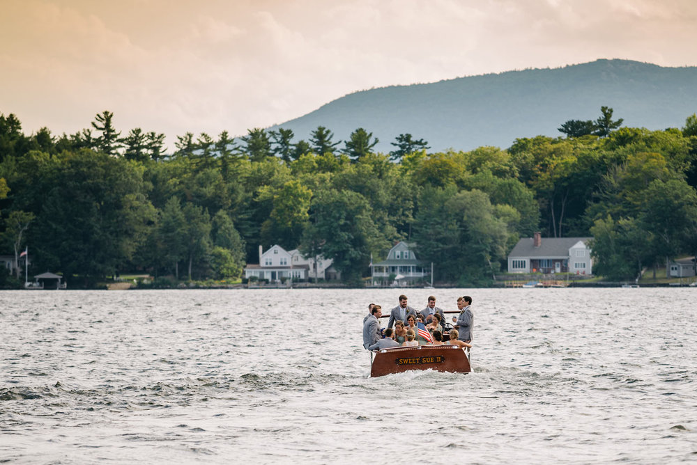 wedding party on a boat on lake winnipesaukee