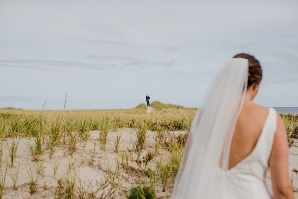 wedding first look in cape cod on the dunes