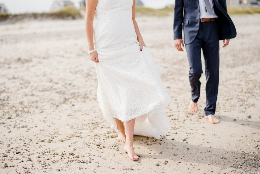 lovely wedding couple on the beach in cape cod