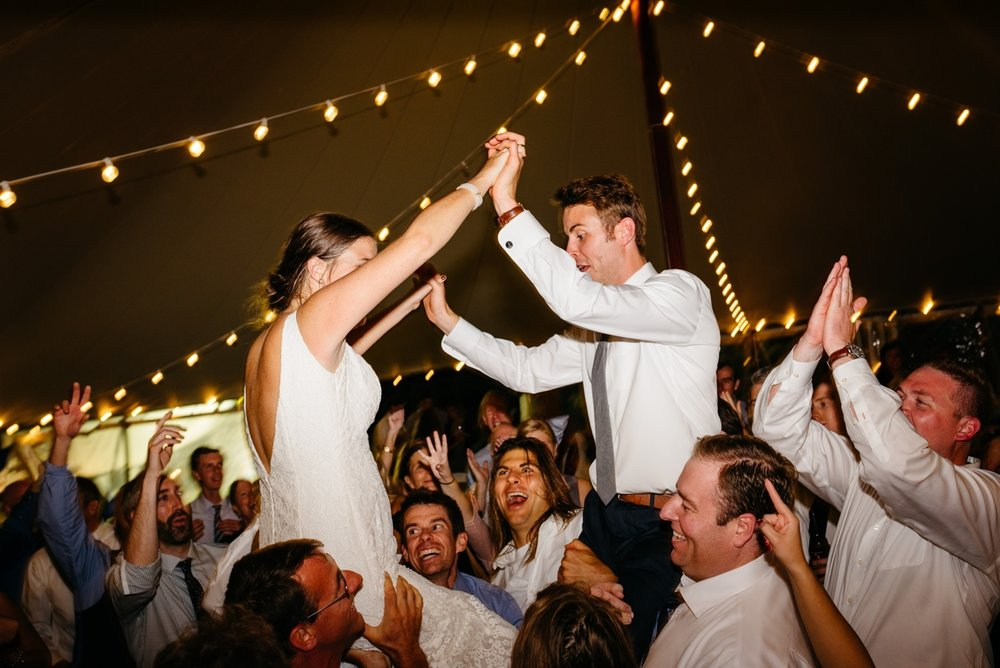 bride and groom partying at their nauticus marina wedding