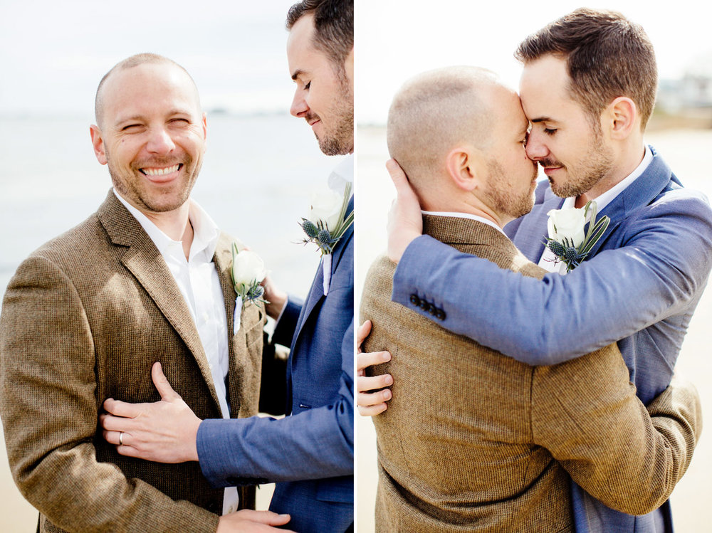 sweet moment of same sex couple at their wedding in provincetown on the beach
