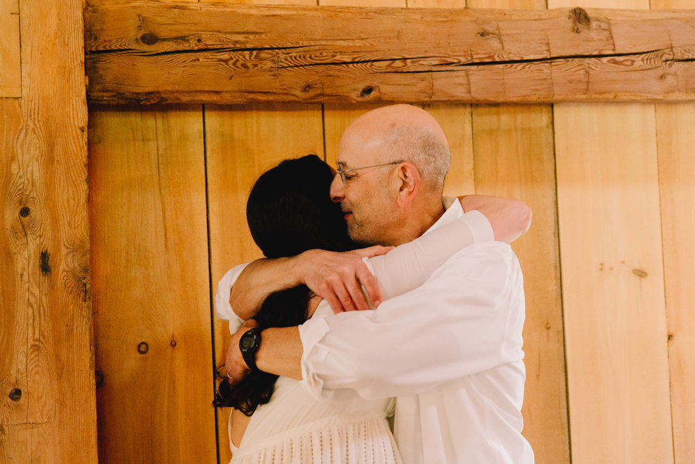 sweet moment with bride and father of the bride in vermont