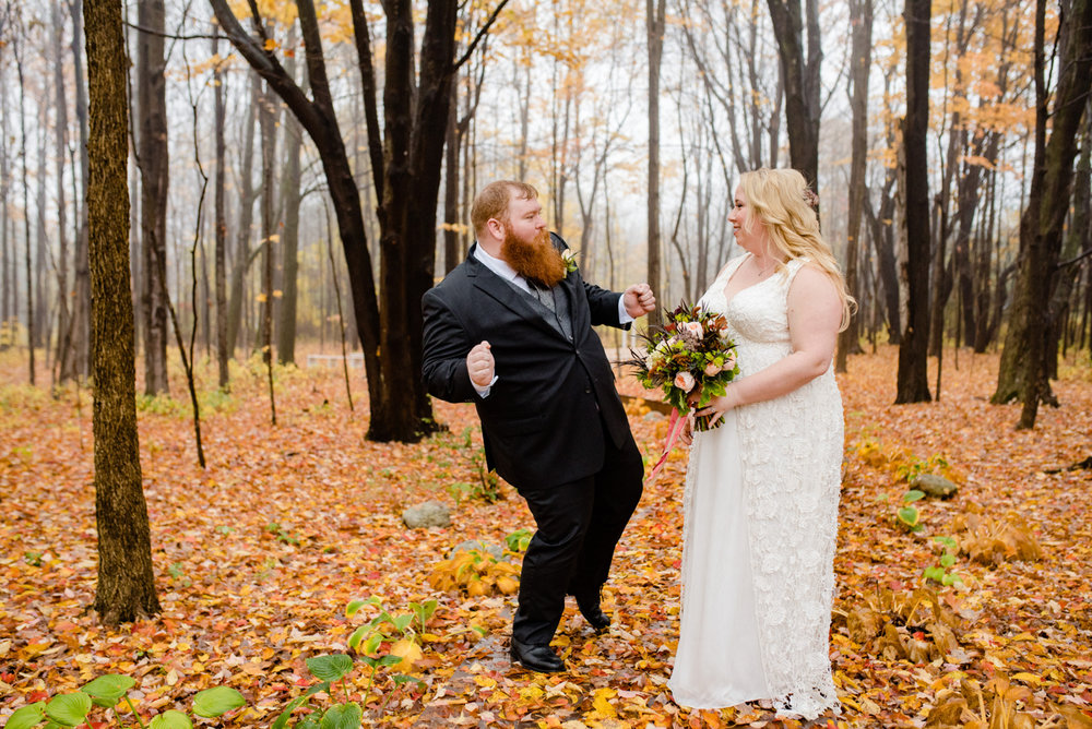 Peirce Farm at Witch Hill wedding photo of couple having fun