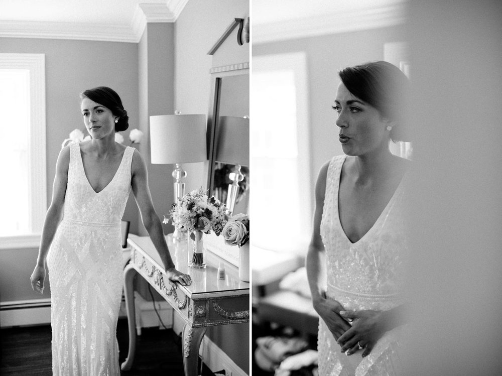 stunning bridal portrait in black and white at the dennis in cape cod