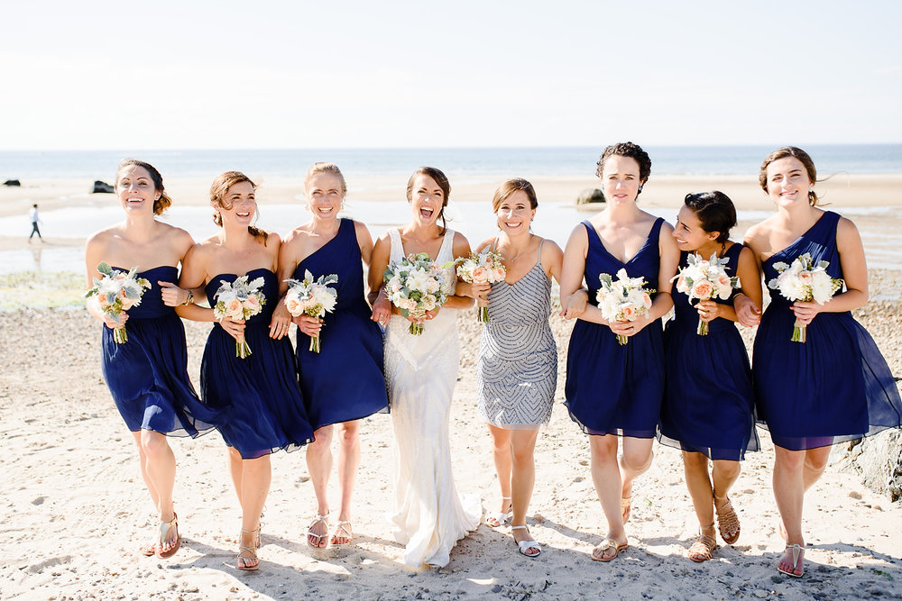 bridesmaids at the beach in cape cod