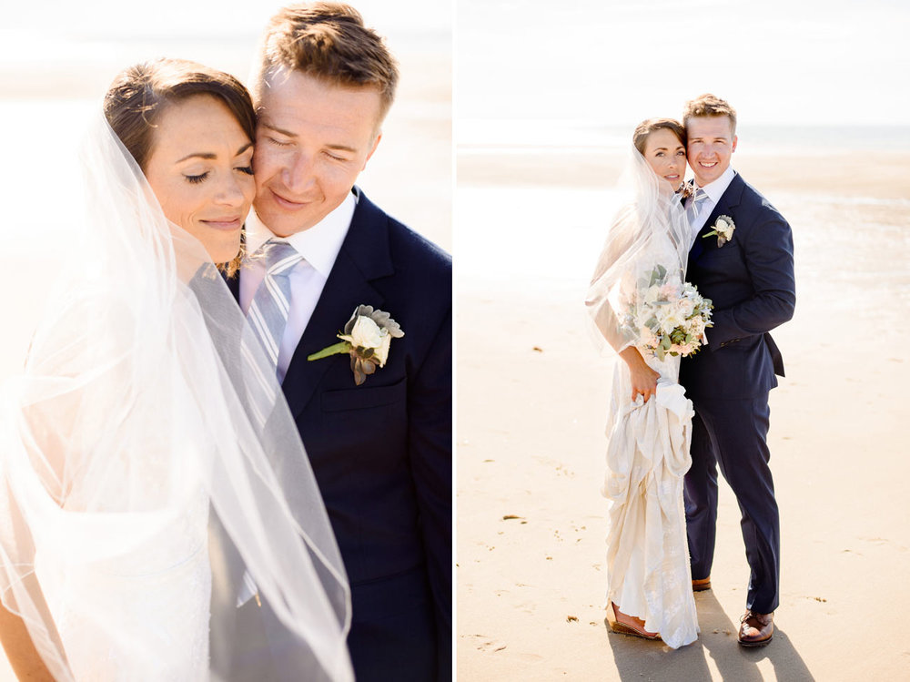 candid and real moments bride and groom on the beach in cape cod
