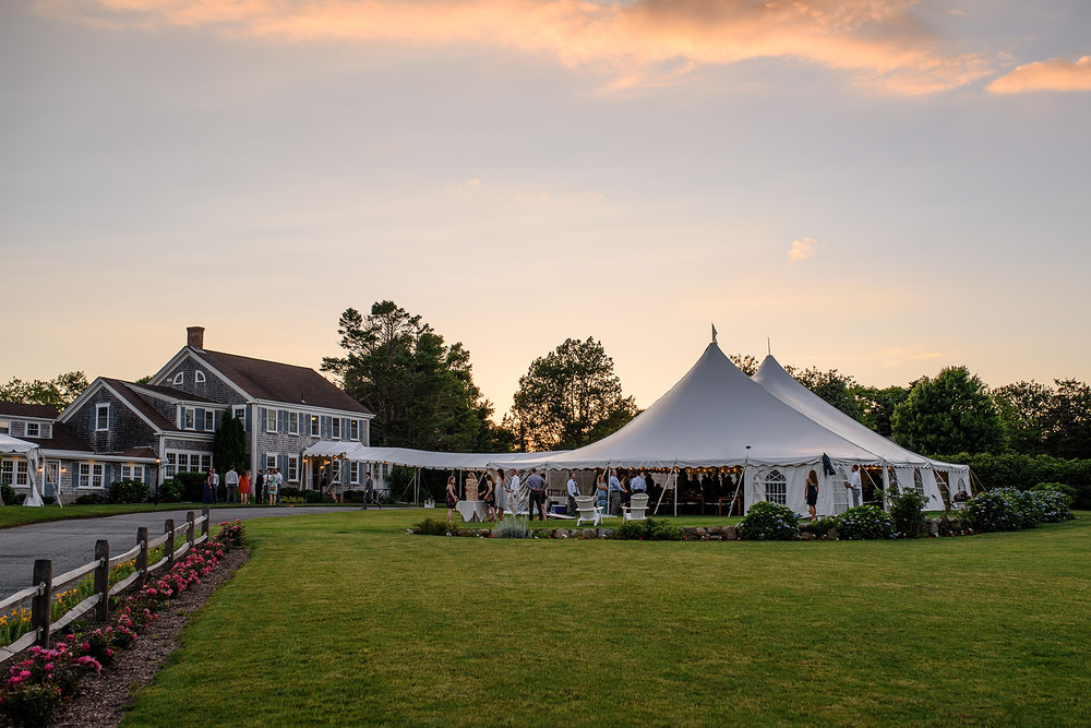 The dennis inn wedding venue at sunset