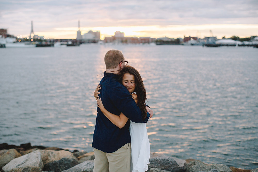 epic boston sunset engagement photo