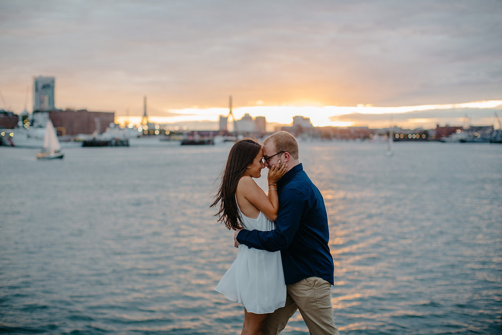golden hour engagement photos in boston