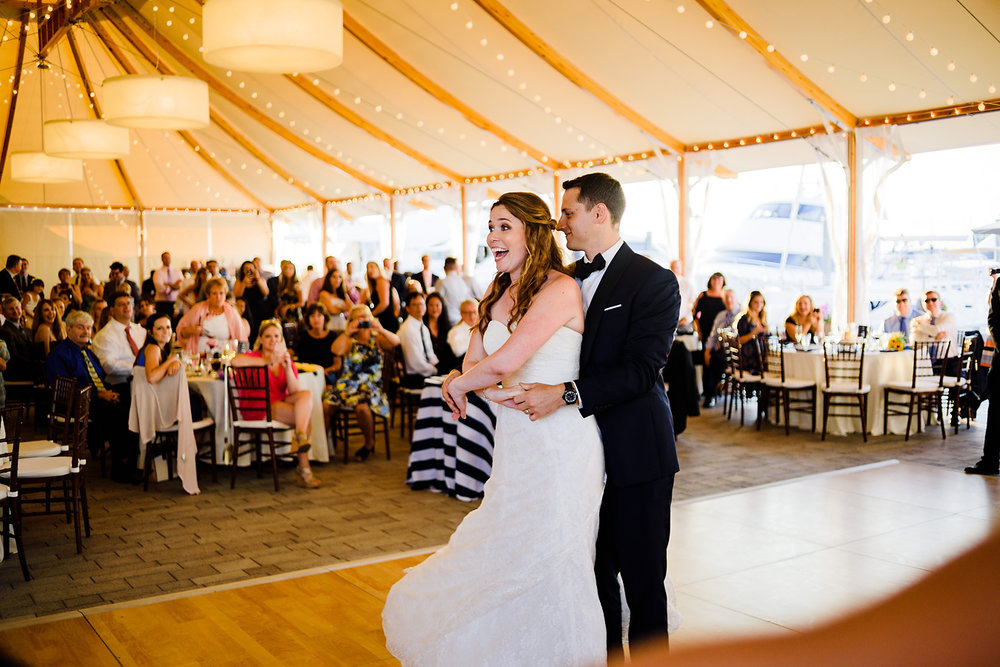 bride and groom first dance at the bohlin tent in newport, ri
