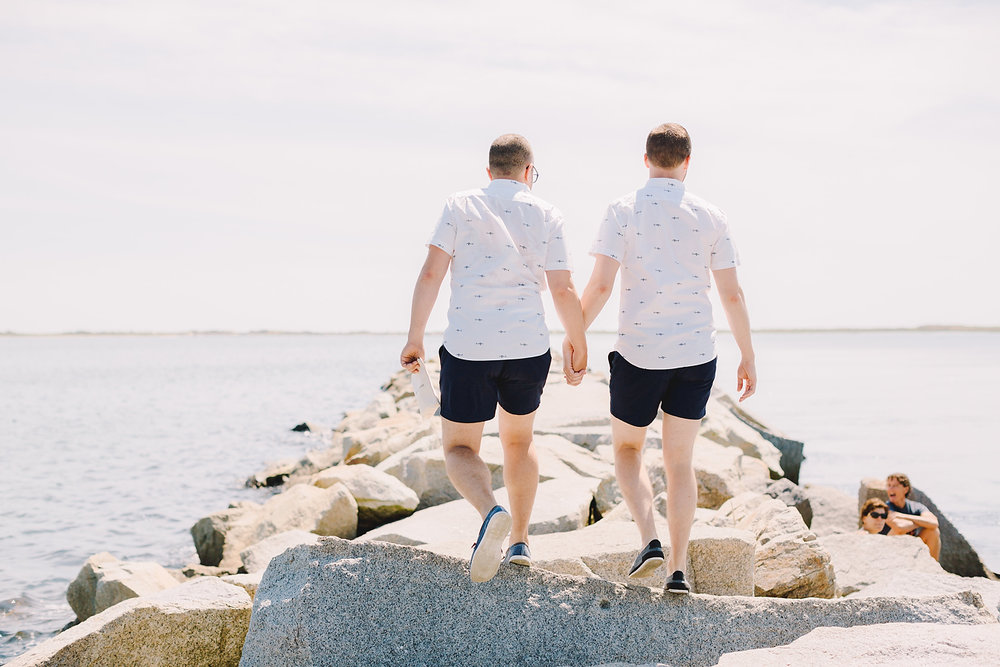 provincetown beach elopement on the rocks on the breaks