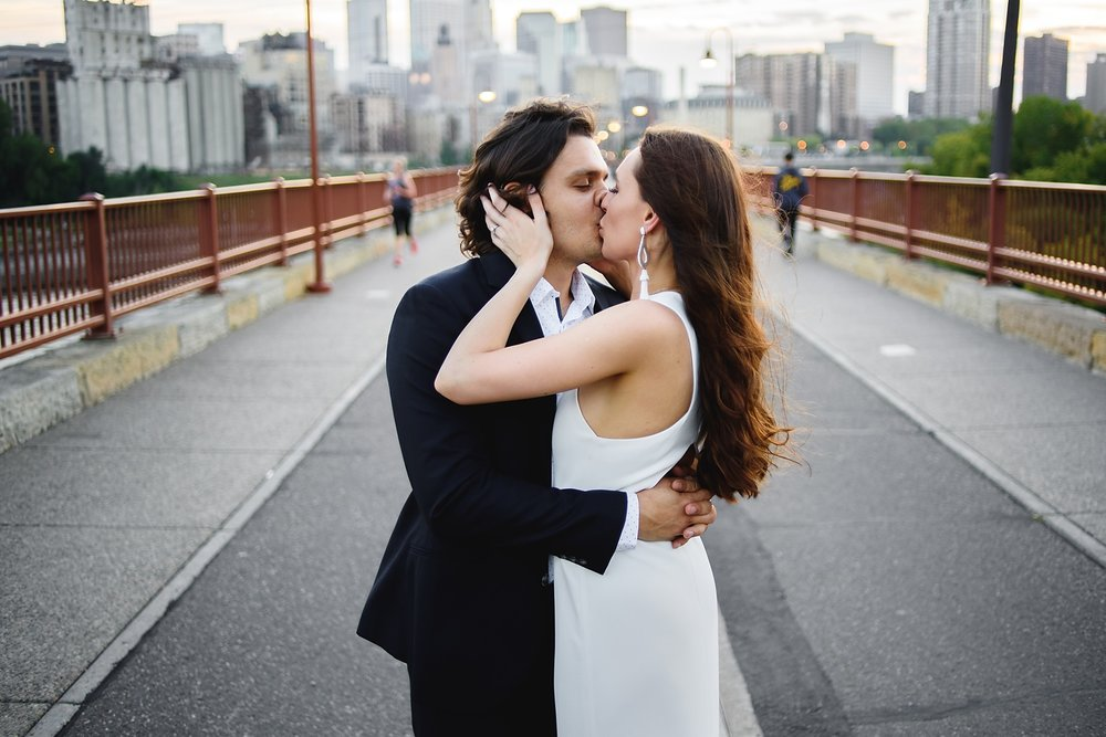 minneapolis wedding photographers - modern stone arch bridge elopement