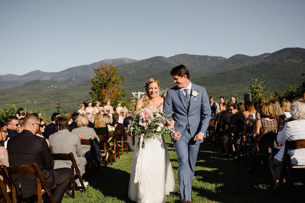 white mountain resort wedding ceremony