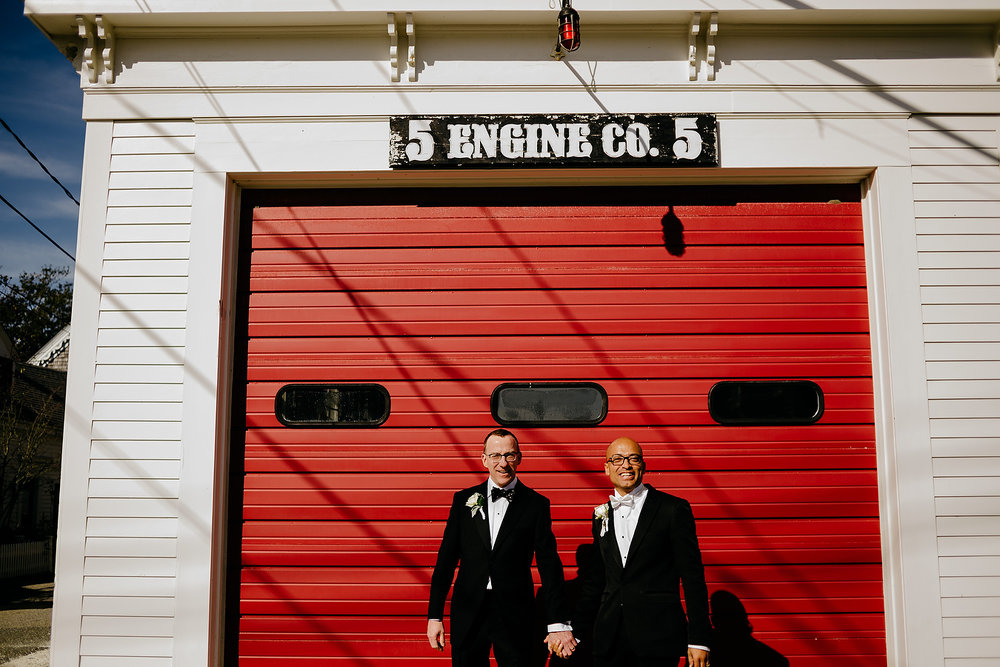 firestation portraits with beautiful gay couple