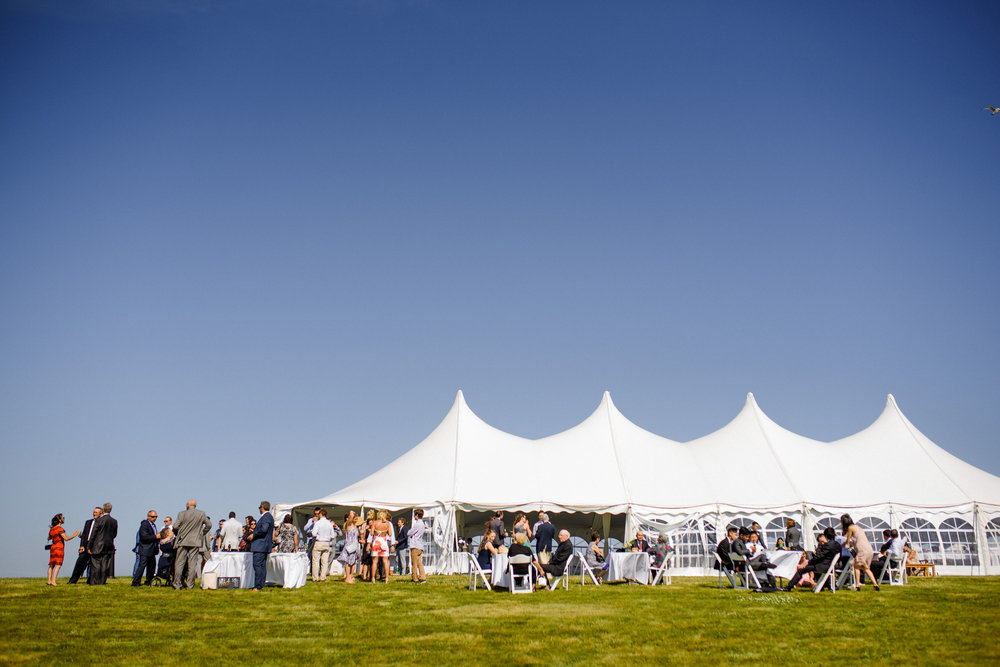 weddings at  The Sullivan House on block island views of tent and people