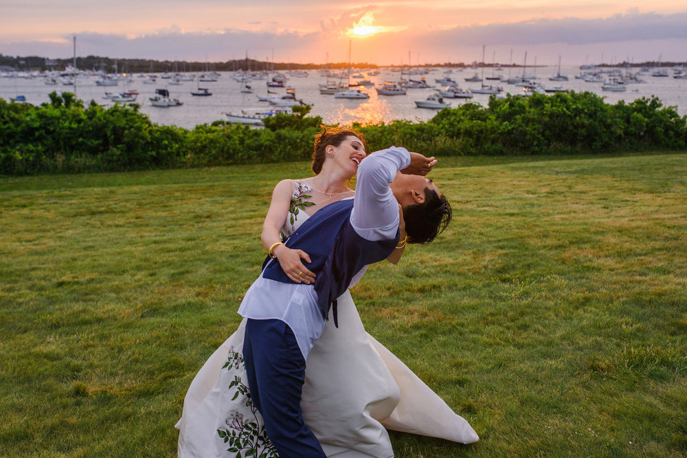fun sunset portrait of bride and groom at  The Sullivan House on block island