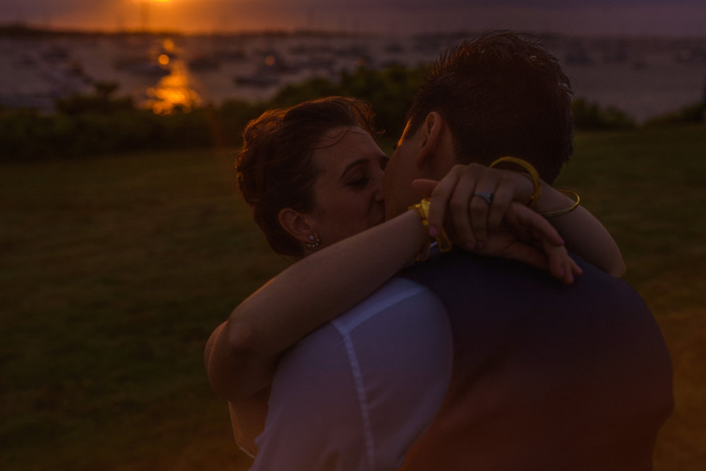 moody and dark hipster sunset portrait at  The Sullivan House on block island