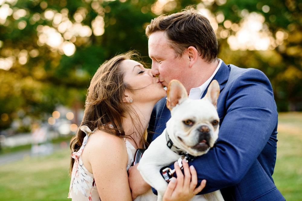 cute charlestown ma engagement photos with their cute pug