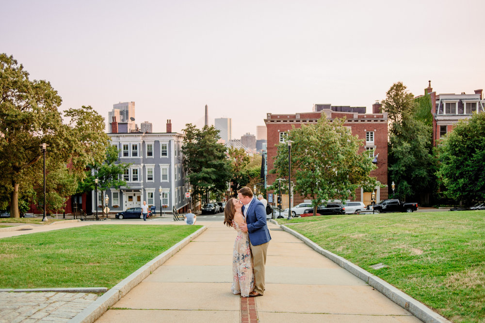 engagement photos and inspiration in charlestown with views of the city at bunker hill monument