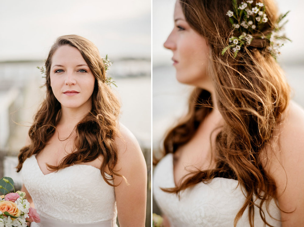 stunning bride at beach on martha's vineyard