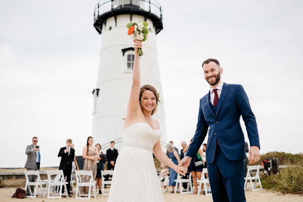 edgartown lighthouse wedding  couple celebrating at their ceremony