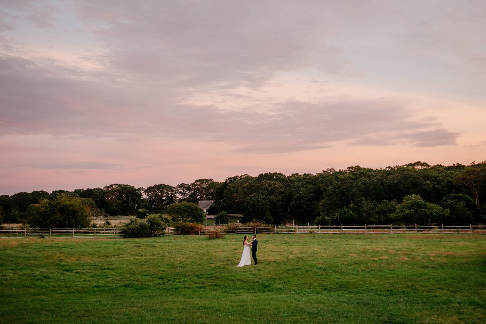 edgartown sunset portraits of bride and groom on their wedding day