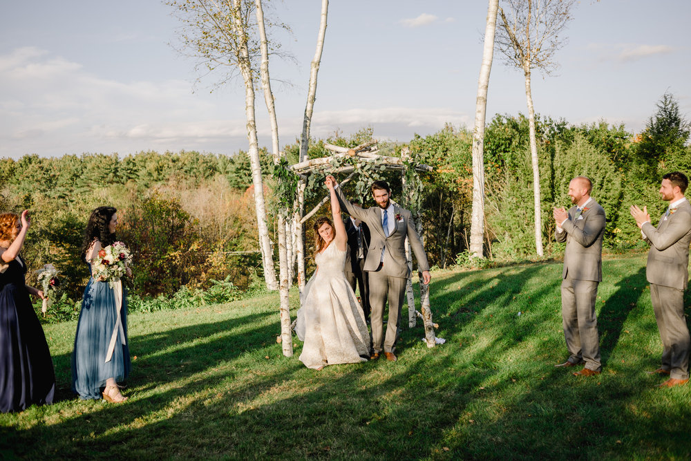 the comman man inn wedding ceremony with mountain views